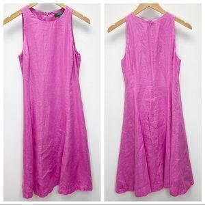 Lauren Ralph Lauren Pink 100% Linen A-Line Dress